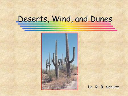 Deserts, Wind, and Dunes Dr. R. B. Schultz. Deserts and Wind Action (Aeolian Processes) Desert -- arid land with less than 250 mm (10 inches) precipitation.