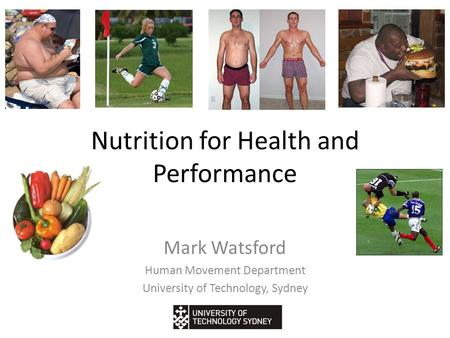 Nutrition for Health and Performance