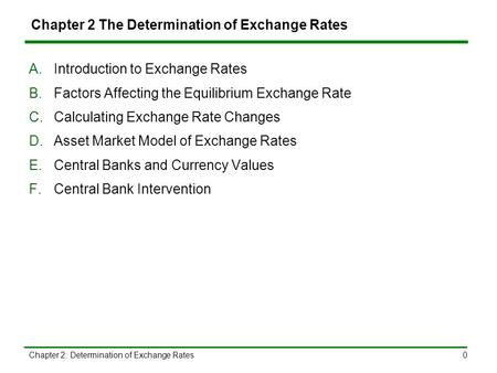Chapter 2: Determination of Exchange Rates0 Chapter 2 The Determination of Exchange Rates A.Introduction to Exchange Rates B.Factors Affecting the Equilibrium.