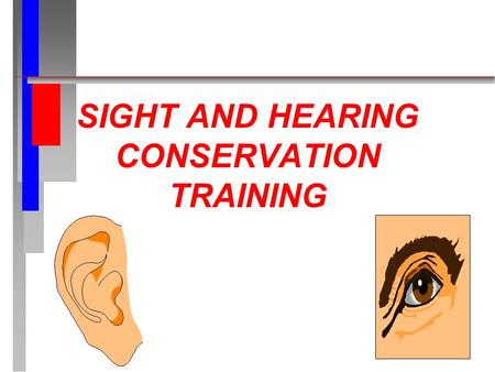 SIGHT AND HEARING CONSERVATION TRAINING. REFERENCES n 29 CFR 1910.95 c AND 133 n MCO 5100.8E, Encl 6 n MCO 6260.1D.