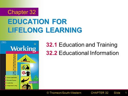 © Thomson/South-WesternSlideCHAPTER 321 EDUCATION FOR LIFELONG LEARNING 32.1Education and Training 32.2Educational Information Chapter 32.
