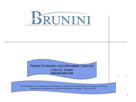 1 Patient Protection and Affordable Care Act Cheri D. Green WWW.BRUNINI.COM This Presentation is not designed or intended to provide legal or professional.