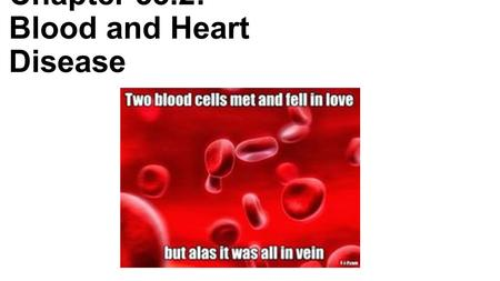 Chapter 33.2: Blood and Heart Disease. Blood -Contains plasma -90% water -10% dissolved gases, salts, nutrients, enzymes, hormones and waste -Contains.