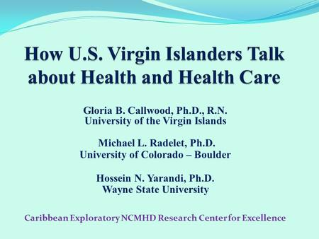 Gloria B. Callwood, Ph.D., R.N. University of the Virgin Islands Michael L. Radelet, Ph.D. University of Colorado – Boulder Hossein N. Yarandi, Ph.D. Wayne.