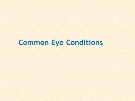 Common Eye Conditions. External anatomy of the eye.
