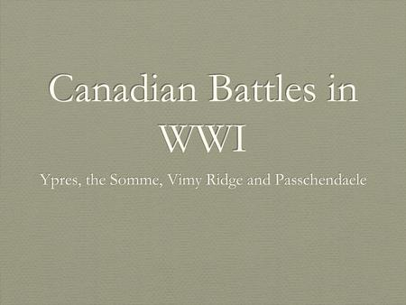 Canadian Battles in WWI