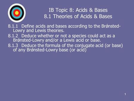 11 IB Topic 8: Acids & Bases 8.1 Theories of Acids & Bases 8.1.1Define acids and bases according to the Brǿnsted- Lowry and Lewis theories. 8.1.2Deduce.