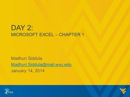 DAY 2: MICROSOFT EXCEL – CHAPTER 1 Madhuri Siddula January 14, 2014.