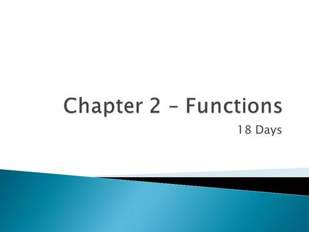 18 Days.  2.1 Definition of a Function 2.1 Definition of a Function  2.2 Graphs of Functions 2.2 Graphs of Functions  2.3 Quadratic Functions 2.3 Quadratic.