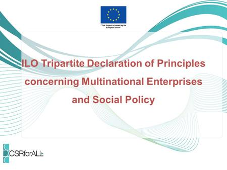 What is the ILO Tripartite Declaration of Principles concerning Multinational Enterprises on Social Policy The ILO MNE Declaration provides guidance to.