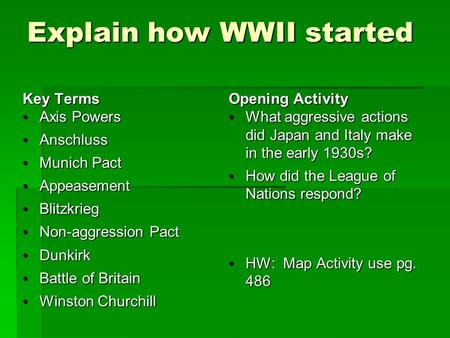 Explain how WWII started Key Terms Axis Powers Axis Powers Anschluss Anschluss Munich Pact Munich Pact Appeasement Appeasement Blitzkrieg Blitzkrieg Non-aggression.