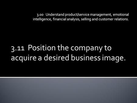 3.11 Position the company to acquire a desired business image. 3.00 Understand product/service management, emotional intelligence, financial analysis,