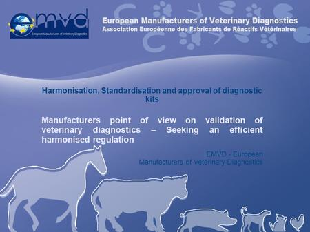 Harmonisation, Standardisation and approval of diagnostic kits Manufacturers point of view on validation of veterinary diagnostics – Seeking an efficient.
