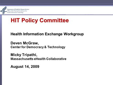 HIT Policy Committee Health Information Exchange Workgroup Deven McGraw, Center for Democracy & Technology Micky Tripathi, Massachusetts eHealth Collaborative.