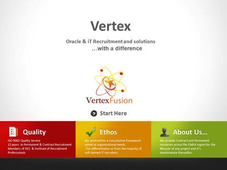 Vertex Start Here Oracle & iT Recruitment and solutions …with a differenceEthos We work within a consultative framework aimed at organisational needs.