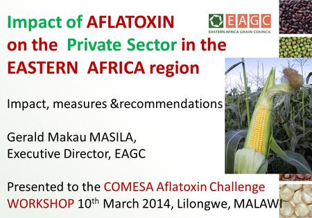 Impact of AFLATOXIN on the Private Sector in the EASTERN AFRICA region Impact, measures &recommendations Gerald Makau MASILA, Executive Director, EAGC.