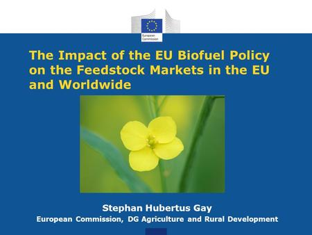 The Impact of the EU Biofuel Policy on the Feedstock Markets in the EU and Worldwide Stephan Hubertus Gay European Commission, DG Agriculture and Rural.