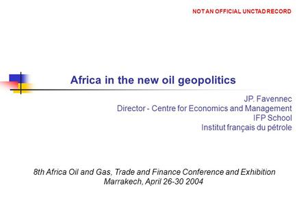 Africa in the new oil geopolitics