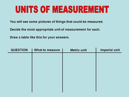 You will see some pictures of things that could be measured. Decide the most appropriate unit of measurement for each. Draw a table like this for your.
