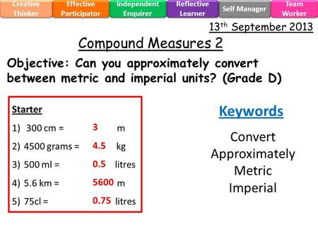 Objective: Can you approximately convert between metric and imperial units? (Grade D) Effective Participator Self Manager Independent Enquirer Creative.