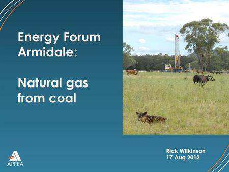 Rick Wilkinson 17 Aug 2012 Energy Forum Armidale: Natural gas from coal.