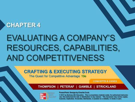 CHAPTER 4 EVALUATING A COMPANY'S RESOURCES, CAPABILITIES, AND COMPETITIVENESS.