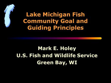 Lake Michigan Fish Community Goal and Guiding Principles Mark E. Holey U.S. Fish and Wildlife Service Green Bay, WI.
