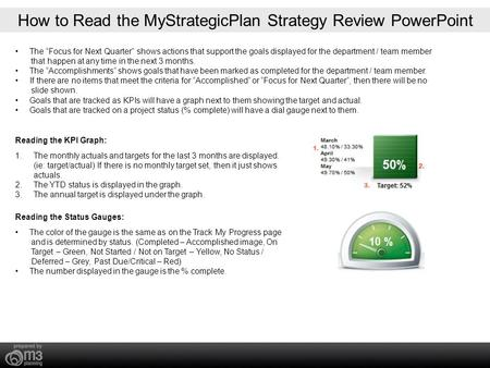 "How to Read the MyStrategicPlan Strategy Review PowerPoint The ""Focus for Next Quarter"" shows actions that support the goals displayed for the department."