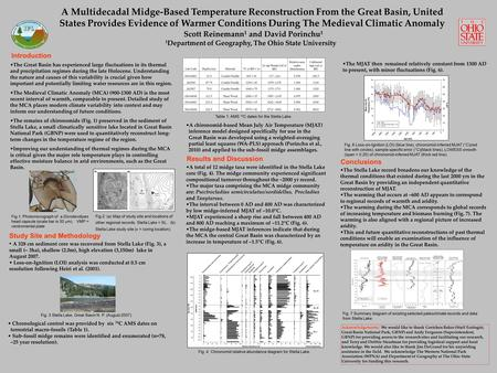 A Multidecadal Midge-Based Temperature Reconstruction From the Great Basin, United States Provides Evidence of Warmer Conditions During The Medieval Climatic.
