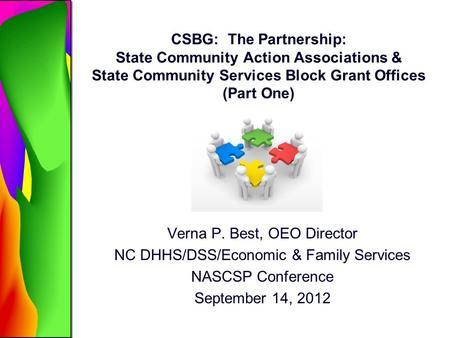 Verna P. Best, OEO Director NC DHHS/DSS/Economic & Family Services