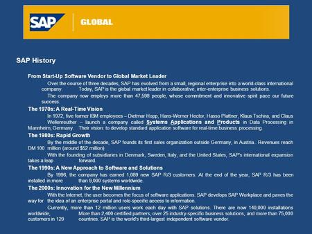 SAP History From Start-Up Software Vendor to Global Market Leader Over the course of three decades, SAP has evolved from a small, regional enterprise into.