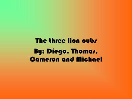 The three lion cubs By: Diego, Thomas, Cameron and Michael.