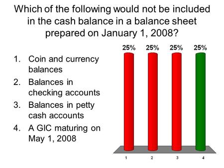 Which of the following would not be included in the cash balance in a balance sheet prepared on January 1, 2008? 1.Coin and currency balances 2.Balances.