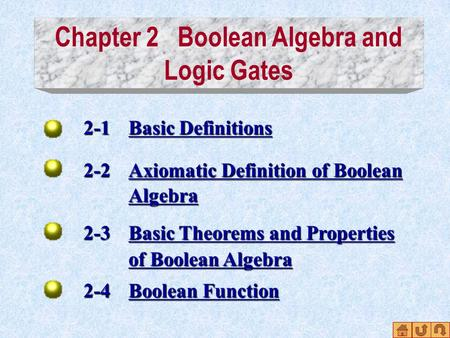 Chapter 2 Boolean Algebra and Logic Gates 2-1 Basic Definitions Basic DefinitionsBasic Definitions 2-2 Axiomatic Definition of Boolean Axiomatic Definition.