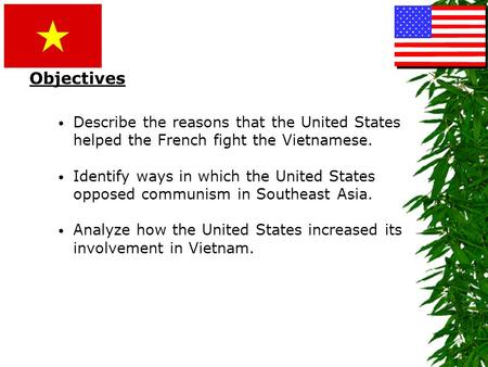Objectives Describe the reasons that the United States helped the French fight the Vietnamese. Identify ways in which the United States opposed communism.