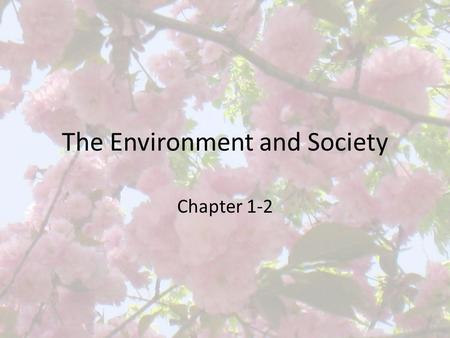 The Environment and Society Chapter 1-2 The Individual vs. Social Welfare Common resources – If we all use the resources without rules and regulations,