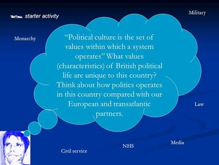 " starter activity ""Political culture is the set of values within which a system operates"" What values (characteristics) of British political life are."