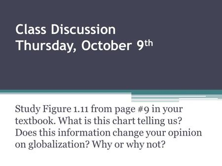 Class Discussion Thursday, October 9th