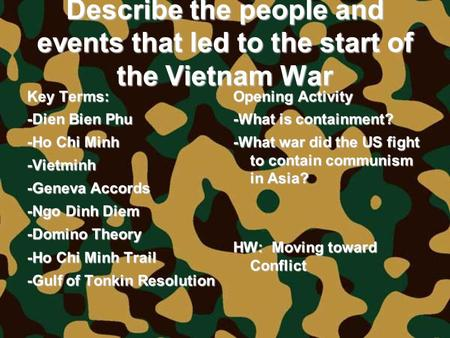 Describe the people and events that led to the start of the Vietnam War Key Terms: -Dien Bien Phu -Ho Chi Minh -Vietminh -Geneva Accords -Ngo Dinh Diem.