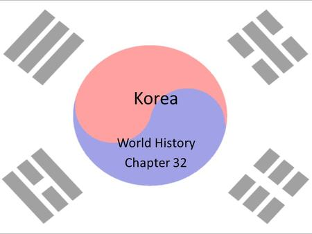 Korea World History Chapter 32. A Brief History Korea is divided at the 38 th parallel line (now called the De-Militarized Zone) In 1950, the communist.