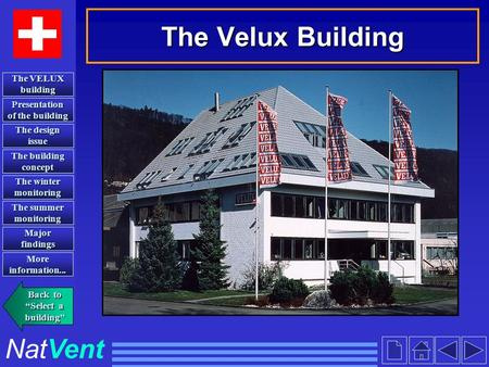 The Velux Building NatVent Presentation of the building Presentation of the building The design issue The design issue The building concept The building.