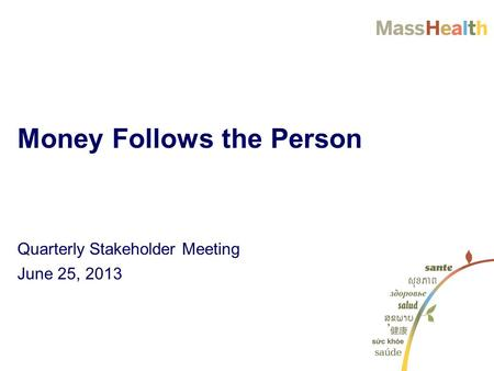 Quarterly Stakeholder Meeting June 25, 2013 Money Follows the Person.