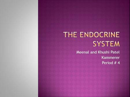 Meenal and Khushi Patel Kammerer Period # 4.  The endocrine system is made up of glands that produce and secrete hormones, chemical substances produced.