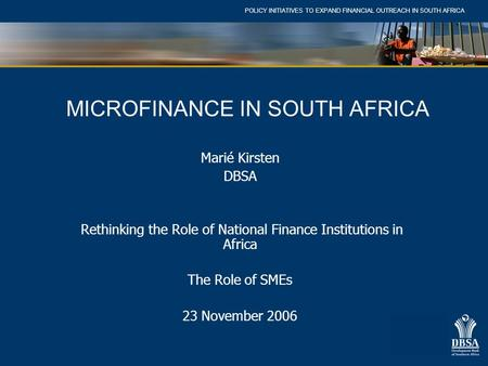 MICROFINANCE IN SOUTH AFRICA
