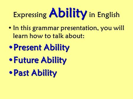 Expressing Ability in English