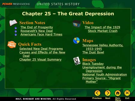Chapter 25 – The Great Depression Section Notes The End of Prosperity Roosevelt's New Deal Americans Face Hard Times Video The Impact of the 1929 Stock.