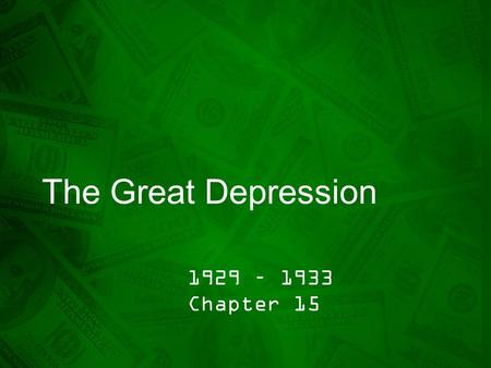 The Great Depression 1929 – 1933 Chapter 15. Section 1 – Pg. 442 What you need to know… 1.Explain the warnings that financial experts issued about business.