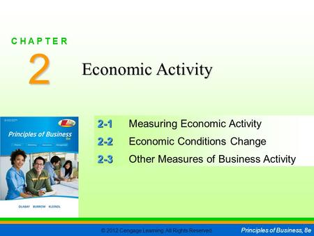 © 2012 Cengage Learning. All Rights Reserved. Principles of Business, 8e C H A P T E R 2 SLIDE 1 2-1 2-1Measuring Economic Activity 2-2 2-2Economic Conditions.