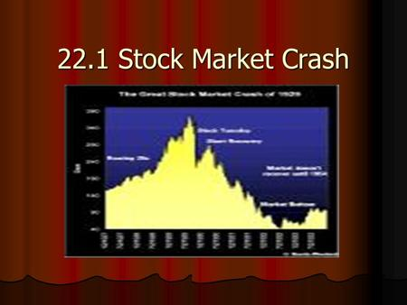 22.1 Stock Market Crash. The Market Crashes Early 1928 Dow Jones climbed to 191. Early 1928 Dow Jones climbed to 191. By Sept. 3, 1929 it reached all.