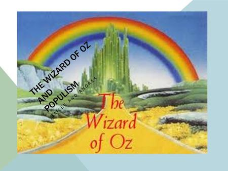 "THE WIZARD OF OZ AND POPULISM BAILEE AND ANDREA. POPULISM 1890'S Populism is described as being "" the movement or migration of the people"" In the 1890's,"